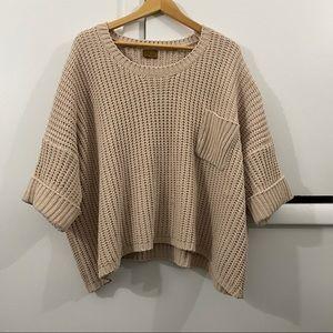POL Oversized Chunky Knit Tan Sweater Small